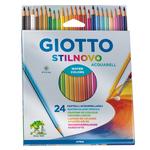 Pastelli colorati Stilnovo Acquarell - lunghezza 18cm mina 3,3mm - Giotto - Astuccio 24 pastelli colorati