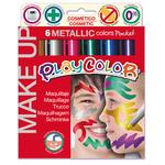 Tempera solida Make Up - cosmetica - Playcolor - astuccio 6 colori metallic