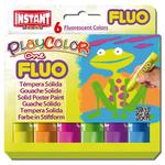Tempera solida in stick Playcolor - 10gr - colori fluo - Instant - astuccio 6 stick fluo