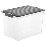 Contenitore Compact - 27x18,5x15 cm - A5 - 4,5 L - PPL - coperchio nero - trasparente - Rotho