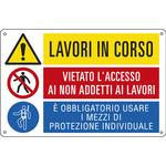 Cartello segnalatore multisimbolo - LAVORI IN CORSO/VIETATO L\ACCESSO&/E\ OBBLIGATORIO& - alluminio - 50x33.3 cm