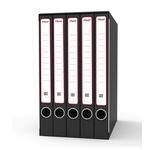Gruppo registratori Sestetto - con 6 cartelle ad anelli - 25,5x34,5 cm - dorso 23 cm - grigio - Rexel