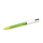 Penna a sfera a scatto - 4 colori fluo - fusto giallo fluorescente - punta 1,0/1,6mm - Bic - scatola 12 penne
