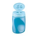 Temperamatite easy 3 fori c/contenitore ergonomico blu per mancini stabilo
