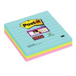 Blocco foglietti Post it® Super Sticky - a righe - colori Miami - 101 x 101mm - 70 fogli - Post it®