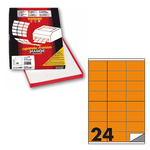 Etichetta adesiva C500 - permanente - 70x36 mm - 24 etichette per foglio - arancio fluo - Markin - scatola 100 fogli A4