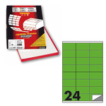 Etichetta adesiva C500 Markin - verde fluo - 70x36 mm - 24 etichette per foglio - scatola 100 fogli A4