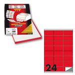 Etichetta adesiva C500 - permanente - 70x36 mm - 24 etichette per foglio - rosso fluo - Markin - scatola 100 fogli A4