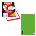 Etichetta adesiva C503 - permanente - 210x297 mm - 1 etichetta per foglio - verde fluo - scatola 100 fogli A4