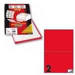 Etichetta adesiva C509 - permanente - 210x148 mm - 2 etichette per foglio - rosso fluo - Markin - scatola 100 fogli A4
