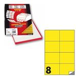 Etichetta adesiva C512 - permanente - 105x74 mm - 8 etichette per foglio - giallo fluo - Markin - scatola 100 fogli A4