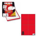Etichetta adesiva C512 - permanente - 105x74 mm - 8 etichette per foglio - rosso fluo - Markin - scatola 100 fogli A4