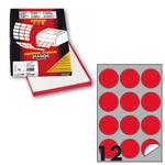 Etichetta adesiva R310 - permanente - tonda ø 60 mm - 12 etichette per foglio - rosso fluo - Markin - scatola 100 fogli A4