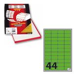 Etichetta adesiva A406 - permanente - 47,5x25,5 mm - 44 etichette per foglio - verde fluo - Markin - scatola 100 fogli A4