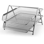 Vaschetta portacorrispondenza - 2 ripiani - rete metallica - argento - Lebez