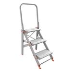 Scala sgabello Class Più con parapetto - 3 gradini - alluminio - Marchetti