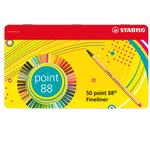 Fineliner Point 88 - tratto 0,4mm - colori assortiti - Stabilo - scatola in metallo 50 colori