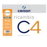 Ricambi per album C4 - 240x330mm - 20fg - 224gr - ruvido - Canson