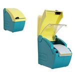 Dispenser con cutter per bendaggio Softnext - 15,5x9x16,5 cm - azzurro/giallo - PVS