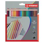 Pastelli colorati Stabilo Aquacolor 1624-3 -  tratto 2,8mm - Stabilo - Astuccio 24 pastelli colorati