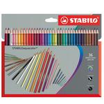 Pastelli colorati Stabilo Aquacolor 1636-7 - tratto 2,8mm - Stabilo - Astuccio 36 pastelli colorati