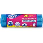 Sacchi per immondizia - 50x60 cm - 35 L - 9 micron - azzurro trasparente - Logex Professional - rotolo da 20 sacchetti
