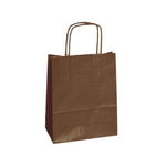 Shopper in carta - maniglie cordino - marrone - 14  x 9 x 20 cm - conf. 25 shoppers