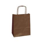 Shopper in carta - maniglie cordino - marrone - 26  x 11 x 34,5 cm - conf. 25 shoppers