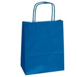 Shopper in carta - maniglie cordino - 14 x 9 x 20cm - blu - conf. 25 sacchetti