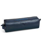 Bustina con cerniera in vera pelle linea Uomo - blu - 18 x 6 x 5cm - Niji Italiana