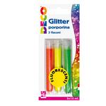 Glitter grana fine - 12ml - colori assortiti fluo - CWR - blister 3 flaconi