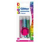Glitter grana fine - 12ml - colori assortiti olografici - CWR - blister 3 flaconi