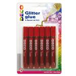 BLISTER COLLA GLITTER 6 PENNE 10,5ML ROSSO CWR