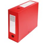 Scatola per archivio box - con bottone - 25x33 cm - dorso 10 cm - rosso - Exacompta