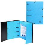 Cartellina 3 lembi forata - con elastico Punchy - cartoncino lustré - A4 - azzurro - Exacompta
