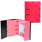 Cartellina 3 lembi forata - con elastico Punchy - cartoncino lustré - A4 - rosso - Exacompta