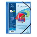 Cartella personalizzabile Kreacover® - con elastico - PP - 24x32 cm - blu trasparente - Exacompta