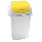Pattumiera con coperchio basculante Rif - 44x33x68 cm - 50 L - bianco/giallo - Medial International