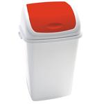 Pattumiera con coperchio basculante Rif - 44x33x68 cm - 50 L - bianco/rosso - Medial International