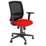 Sedia semidirezionale Molly A - con ruote e braccioli - schienale in rete nero/seduta rosso - Unisit