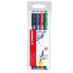 Pennarello PointMax punta feltro - punta 0,80mm - Stabilo - astuccio 4 colori: blu, nero, rosso, verde