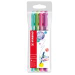 Pennarello PointMax punta feltro - punta 0,80mm - Stabilo - astuccio 4 colori: azzurro,verde,rosa,viola