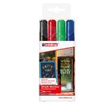 Marcatore gesso liquido 4095 - 4 colori assortiti - punta conica da 2,0 a 3,0mm - Edding - astuccio 4 marcatori