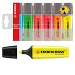 Evidenziatore Boss Original - punta a scalpello - tratto da 2,0-5,0mm - astuccio 6 colori assortiti  - Stabilo