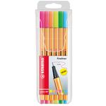 Fineliner Point 88 - tratto 0,4mm - colori assortiti - Stabilo - astuccio neon 6 colori