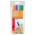 Fineliner Point 88 - tratto 0,4mm - colori assortiti - Stabilo - astuccio pastel 8 colori