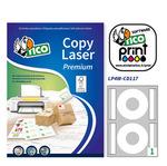 Etichetta adesiva per CD LP4W Tico - carta bianca opaca - ø 117 mm - 2 etichette per foglio - scatola 100 fogli A4