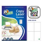 Etichetta adesiva LP4W - permanente - 105x148 mm - 4 etichette per foglio - bianco - Tico - conf. 100 fogli A4