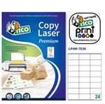 Etichetta adesiva LP4W - permanente - 70x36 mm - 24 etichette per foglio - bianco - Tico - conf. 100 fogli A4