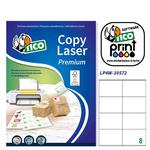 Etichetta adesiva LP4W - permanente - 105x72 mm - 8 etichette per foglio - bianco - Tico - conf. 100 fogli A4